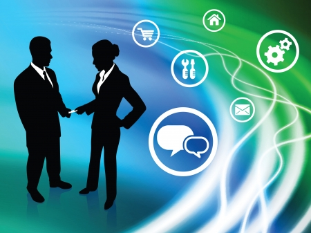 Business Couple on Abstract Liquid Background with Icons   Vector