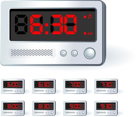 Alarm Clock Set Original Vector Illustration