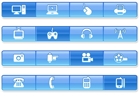 Blue Bar Technology IconsOriginal vector Illustration Stock Vector - 22398892