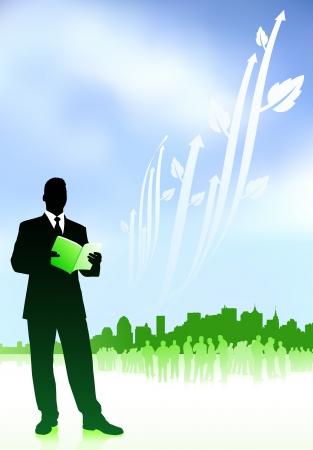 Businessman with Green Skyline BackgroundOriginal Vector IllustrationGreen Nature Concept
