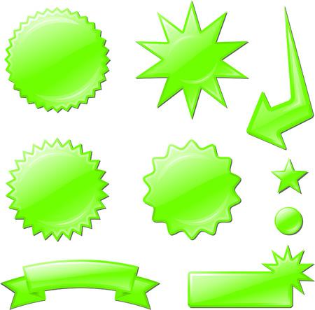 green star burst designs Original Vector Illustration  Design elements collection on white background