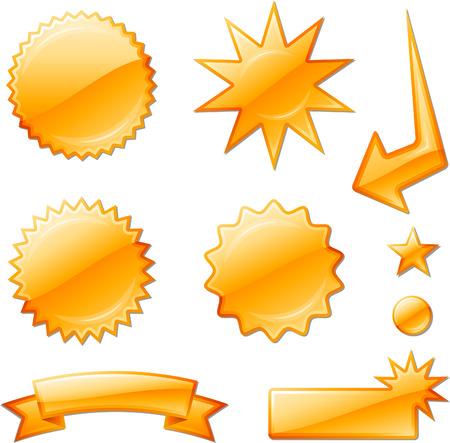 orange star burst designsOriginal Vector Illustration Design elements collection on white background