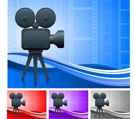 Film Camera SetOriginal Vector IllustrationFilm Reel Concept
