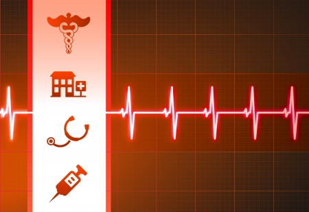 Medical Icons on Heart Rate Pulse Background Original Vector Illustration