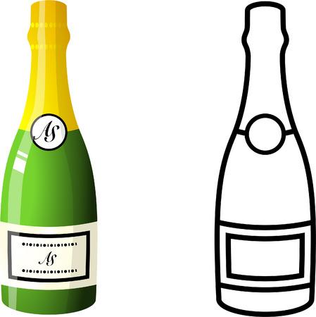 Champagnefles Originele vectorillustratie Stock Illustratie