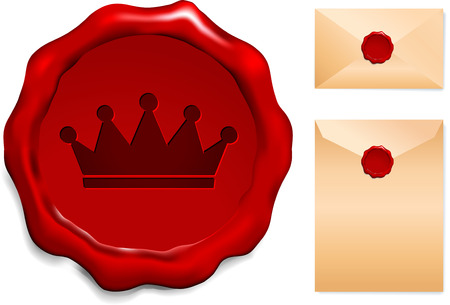 Crown on Wax Seal Origianl Vector Illustration Wax Seal Letter Stamp Ideal for Old Style Concept Vector