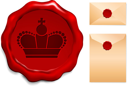Crown on Wax SealOrigianl Vector IllustrationWax Seal Letter Stamp Ideal for Old Style Concept Vettoriali