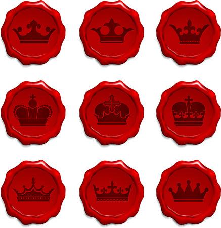 Crown Wax Seal Set Original Vector Illustration  Vector