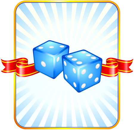 Blue Dice on Ribbon BackgroundOriginal Vector IllustrationDice Ideal for Game Concept Stock Vector - 22398992