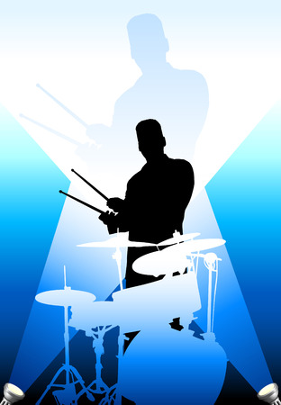 Drums spelers onder de felle lichten Originele vectorillustratie
