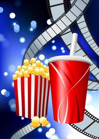 Popcorn and Soda on Film Strip BackgroundOriginal Vector IllustrationFilm Reel Concept Stock Vector - 22399003