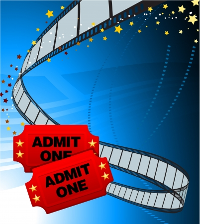 Admission Tickets with Film Strip Original Vector Illustration Film Reel Concept Vector