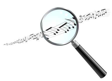 Musical Notes Under Magnifying Glass Original Vector Illustration Simple Image Illustration