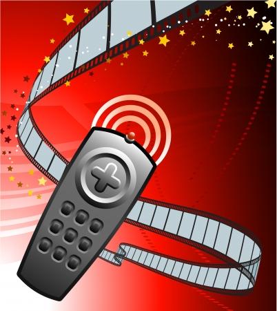 Remote on Film Reel Background Original Vector Illustration Film Reel Concept Vector