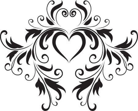 Abstract Black and White Heart DesignOriginal Vector IllustrationBlack and White Design Pattern Ideal for Abstract Background  イラスト・ベクター素材