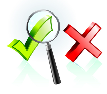 closer: Check and X Mark under Magnifying Glass Original Vector Illustration Magnifying Glass Closer Illustration