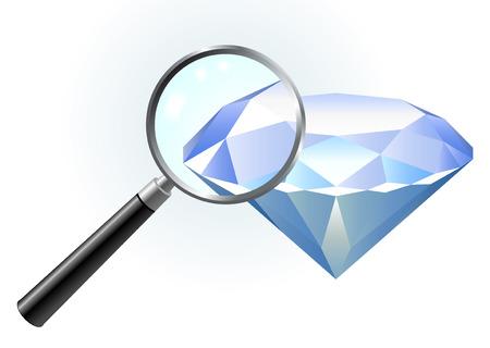 Diamond under magnifying glass Original Vector Illustration Magnifying Glass Closer
