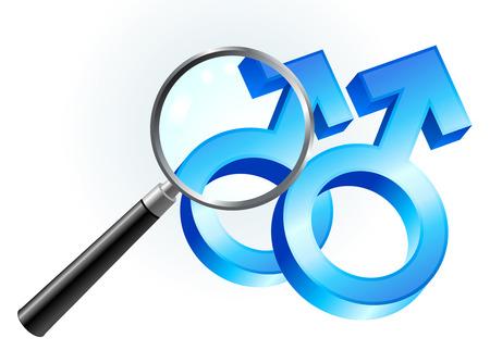 closer: Gay Male Gender Symbols Under Magnifying Glass Original Vector Illustration Magnifying Glass Closer Illustration