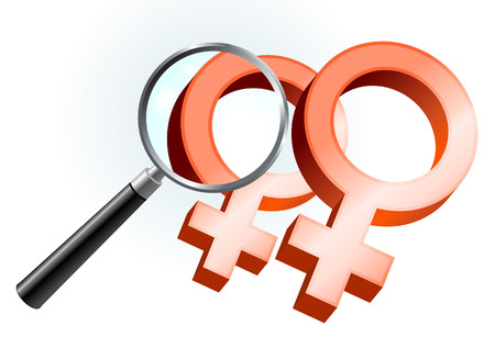 lesbian relationship: Lesbian Gender Symbols Under Magnifying Glass Original Vector Illustration Magnifying Glass Closer