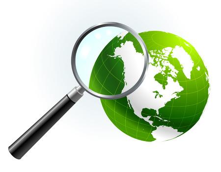 Green Globe under magnifying glass Original Vector Illustration Magnifying Glass Closer