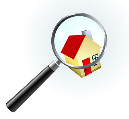 closer: House Under Magnifying Glass Original Vector Illustration Simple Image Illustration