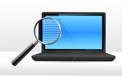 Laptop computer under magnifying glassOriginal Vector IllustrationMagnifying Glass Closer