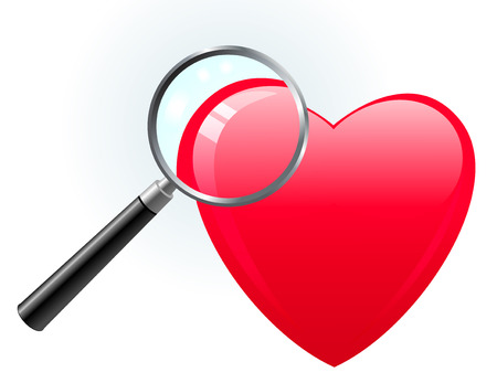 heart under: Heart under magnifying glass Original Vector Illustration Magnifying Glass Closer Illustration