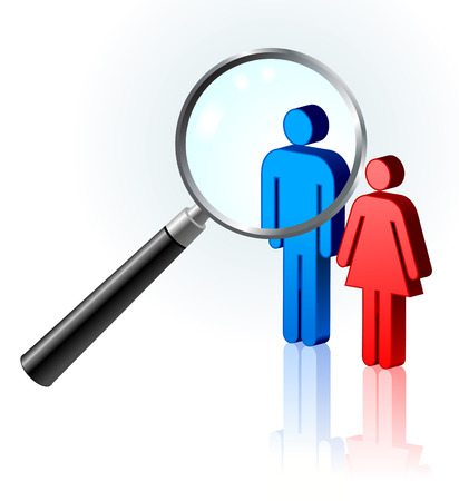 couple lit: couple under magnifying glass Original Vector Illustration Magnifying Glass Closer