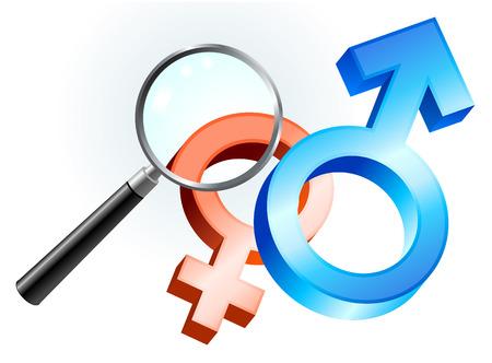 couple lit: Couple Gender Symbols under Magnifying Glass Original Vector Illustration Magnifying Glass Closer