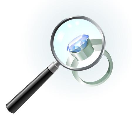 Diamond Ring under Magnifying GlassOriginal Vector IllustrationMagnifying Glass Closer