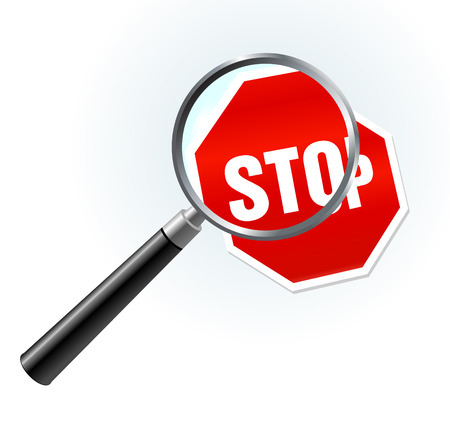 closer: Stop Sign under magnifying glass Original Vector Illustration Magnifying Glass Closer Illustration