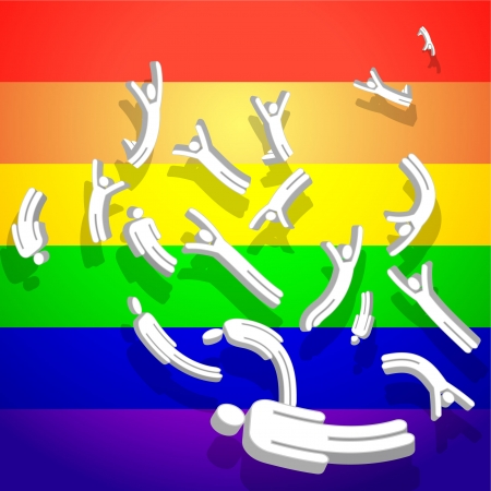 Gay Stick Figures with Rainbow  Original Vector Illustration Rainbow Background Ideal for Gay or Lesbian Concept