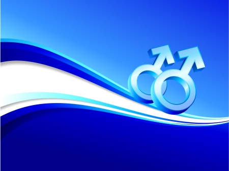couple lit: Original Vector Illustration: gay gender symbols on abstract blue background AI8 compatible
