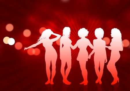 Secy Young Women on Red Background Original Vector Illustration Young Women Dancing Ideal for Party Concept