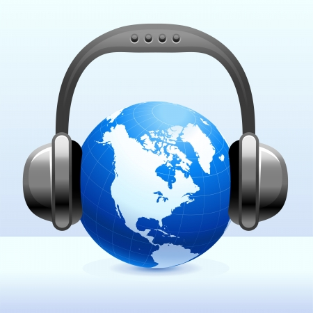 Headphones on Globe