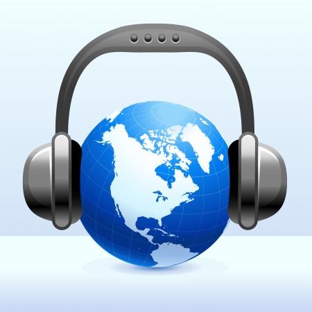Koptelefoon op GlobeOriginele vectorillustratieEenvoudige afbeelding illustratie Stockfoto - 22399077