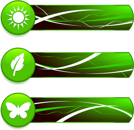 butterfly background: Green Nature Icons on Internet Buttons with Banners Original Vector Illustration Green Nature Concept