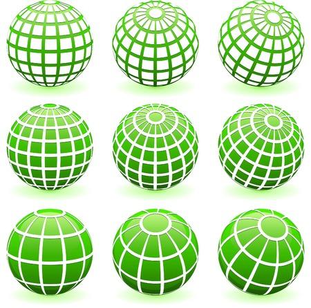 Green Globe Set Original Vector Illustration Green Nature Concept