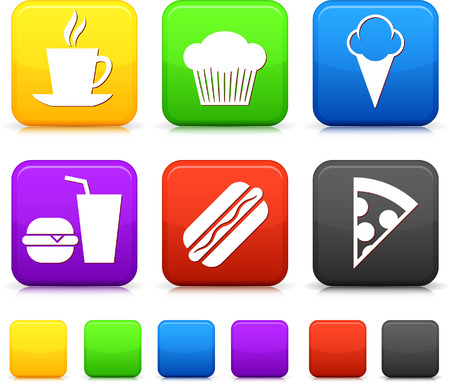 ice tea: Food Icond on Square Internet Buttons Original vector Illustration
