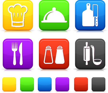 butter knife: Food Icond on Square Internet Buttons Original vector Illustration