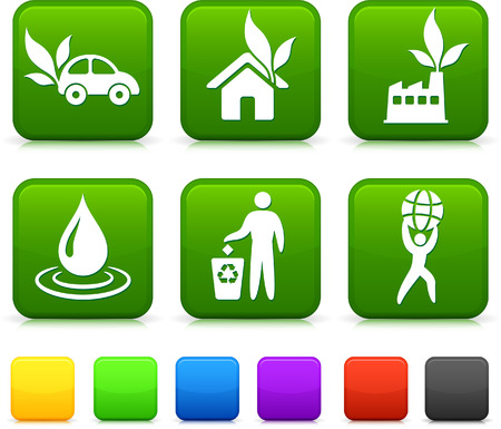 Nature Environment icons on square internet buttons Original vector Illustration Vector