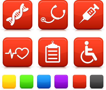 Medical Icons on Square Internet Buttons Original vector Illustration Vector