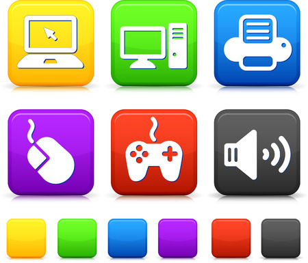 Technology Icons on Square Internet Buttons Original vector Illustration Illustration