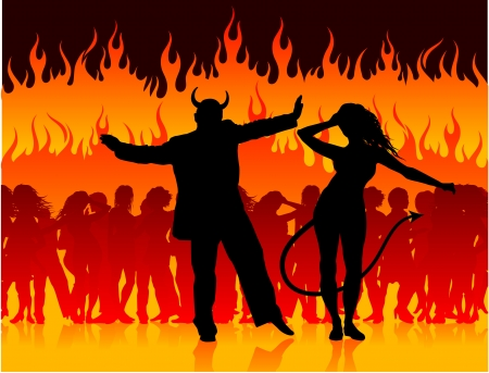 Original Vector Illustration: devil man and woman dancing in hell