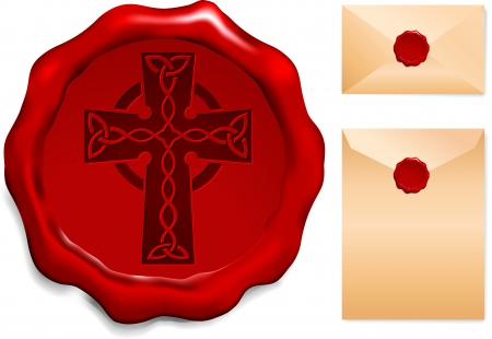 Cross on Wax SealOrigianl Vector IllustrationWax Seal Letter Stamp Ideal for Old Style Concept