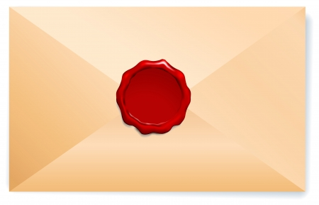 old envelope: Letter Envelope with Wax Seal Origianl Vector Illustration Wax Seal Letter Stamp Ideal for Old Style Concept
