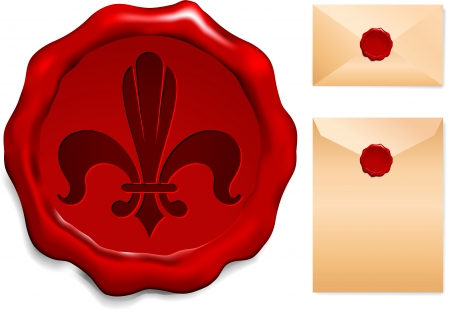 Fleur De Lis On Wax Seal Origianl Vector Illustration Wax Seal Letter Stamp Ideal for Old Style Concept Ilustrace