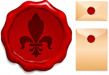 old envelope: Fleur De Lis On Wax Seal Origianl Vector Illustration Wax Seal Letter Stamp Ideal for Old Style Concept Illustration