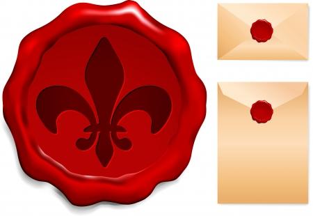 Fleur De Lis On Wax SealOrigianl Vector IllustrationWax Seal Letter Stamp Ideal for Old Style Concept