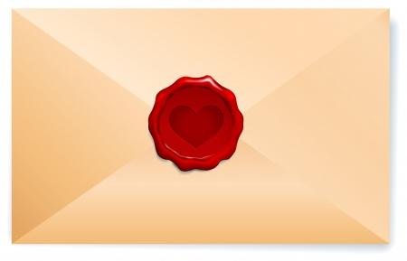 old envelope: Letter with Wax Seal Original Vector Illustration  Illustration